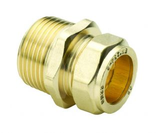 "15mm x 3/8"" compression fitting Straight Adaptor Male iron (Bag of 10=£13.14)"